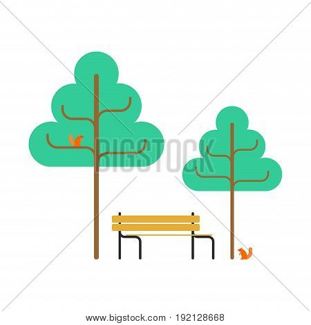 Park Bench And Squirrel. Trees Square Object