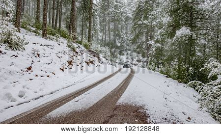 Wide angle view of road with snow, forest and car wheel marks