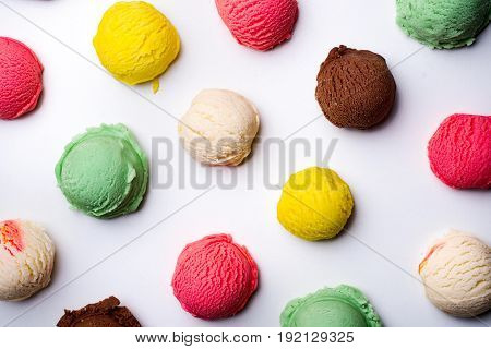 Ice cream scoops collection on white background