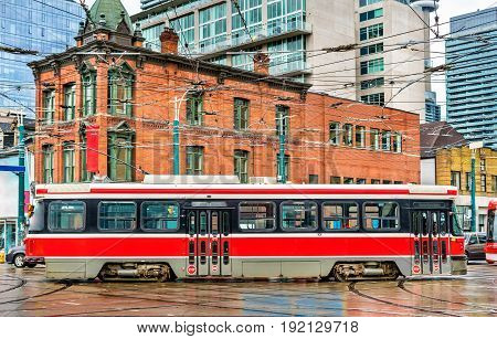 City tram in Toronto, Queen St West - Spadina Ave. Canada