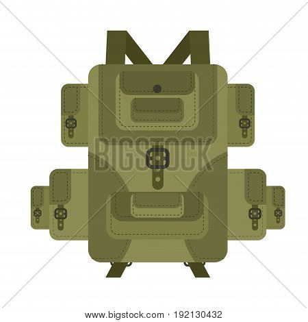 Military Backpack Green Isolated. Soldier Briefcase. Army Haversack