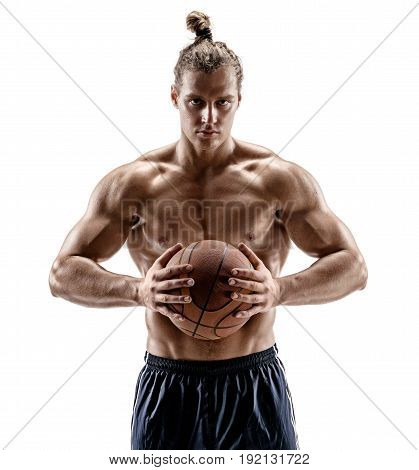 Attractive muscular basketball player with a ball. Photo of shirtless man looking at camera on white background. Strength and motivation