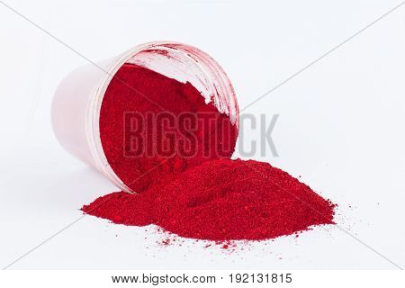 cadmium red dark pigment on a white background