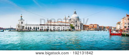 Panoramic View Of Famous Canal Grande With Basilica Di Santa Maria Della Salute In The Background, V