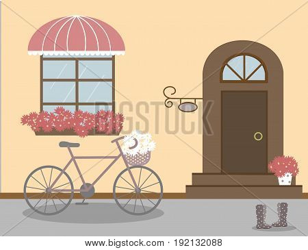 Pretty scenery in a rustic style. House, window with a striped awning, door, stairs, red flowers. Bike and basket of daisies. Rain boots with polka dots. Vector illustration