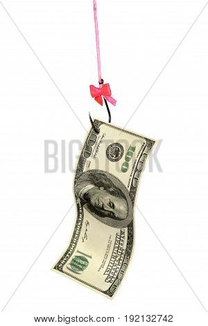 dollar bill on a fishhook with a beautiful bow