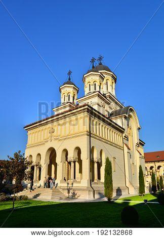 ALBA IULIA ROMANIA - 04.02.2017: The Fortress and The Coronation Orthodox Cathedral