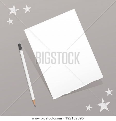 Torn white note, notebook, copybook paper sheet with pencil and stars on gray background