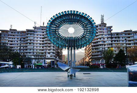 ALBA IULIA ROMANIA - 04.02.2017: The fountain statue near the Fortress landmark architecture
