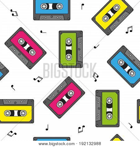 Colorful retro cassettes seamless pattern with notes vector
