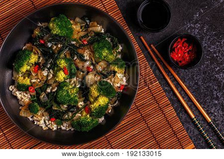 Cooking Asian Stir Fry Rice With Vegetables