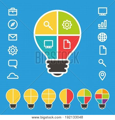 Simple lightbulb diagram with set of icons vector