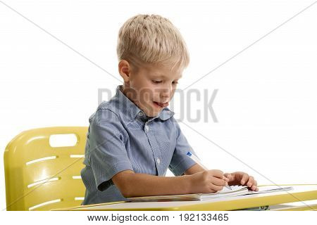 Concentrated happy little schoolboy sitting at the desk and writing