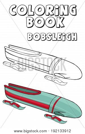 Coloring book   bobsleigh couple .  Cartoon style. Clip art for children.