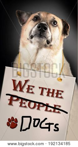 We the People/ Dogs with dog having hanging sign.