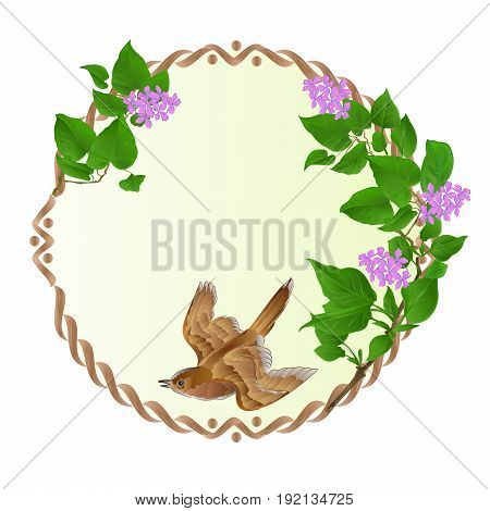 Floral round frame with Purple Lilac and cute small singing bird vintage festive background vector illustration editable hand draw