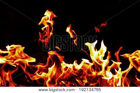 flame of fire in darkness for background