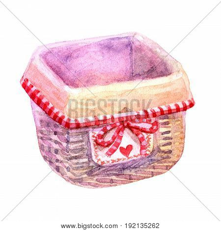 Watercolor hand drawn Retro Bread basket with print in the cage illustration isolated on white background. Vintage Bread basket design close up. Provence style