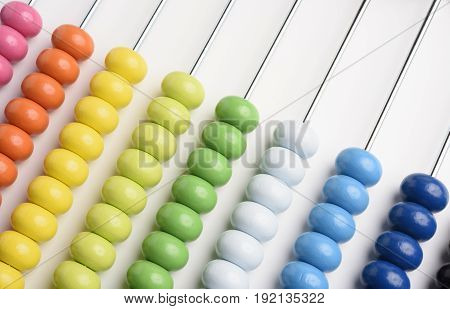 Close up classical abacus on white background