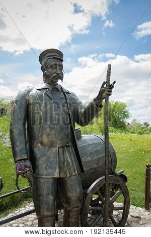 Kolomna Russia - May 22 2017: Close Up Of Monument To Water Carrier In Sunny Spring Day In Kolomna Moscow Region.