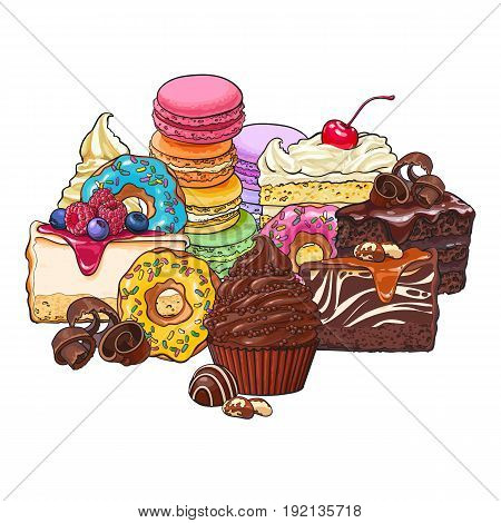Pile, heap of various cakes, sweets, donuts, macaroons and other desserts and pastries, sketch vector illustration isolated on white background. Group of various pastries, cakes and desserts