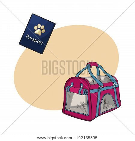 Travel with cats, dogs - transportation bag, carrier and pet passport, sketch vector illustration with space for text. Hand drawn pet carrier, transport bag and passport, id for cats and dogs