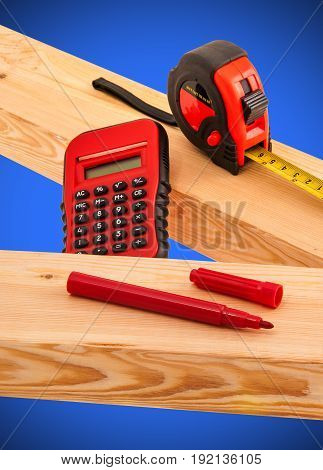 Red Tools and lumber for building project