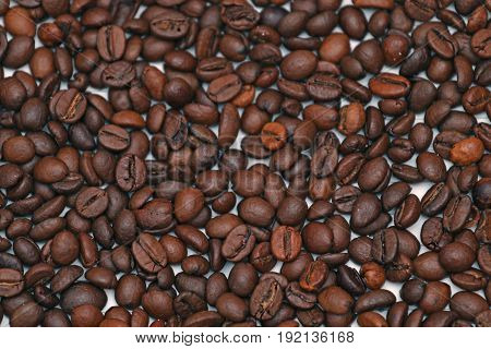 Roasted coffee beans on a notebook arabica