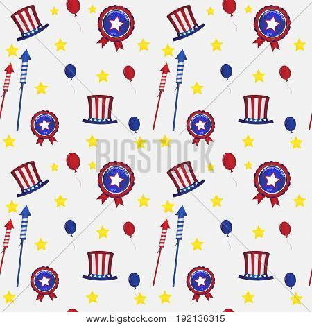 Vector illustration. Seamless pattern. American style. US Independence Day