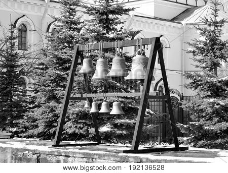 Church bells in Orthodox Voskresensky Novodevichy Convent in Saint Petersburg Russia. Black and white.