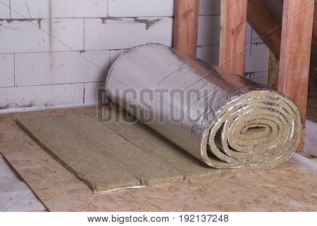 roll of mineral wool with foil for insulation