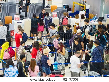 Check-in Busy Line At Airport