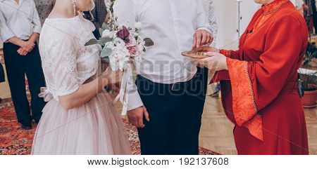 Ceremony Master Gives Wedding Rings For Stylish Bride And Groom In Register Office, Wedding Couple P