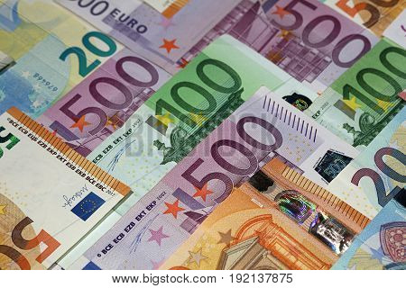 Stack of different Euro banknotes close up