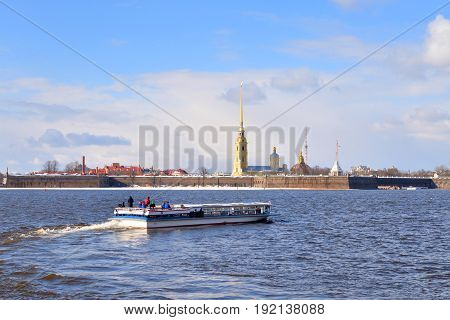 River Neva and Peter and Paul Fortress in St.Petersburg at sunny spring day.