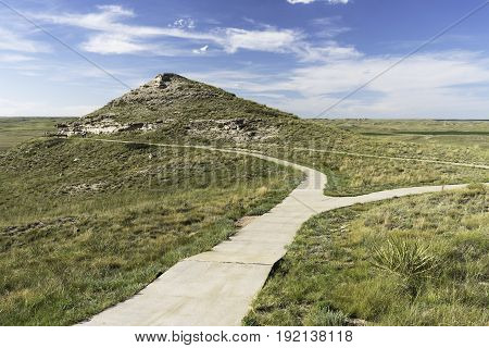 Agate Fossil Beds National Monument in North Western Nebraska. The Fossil Hills Trail is paved to the sites.