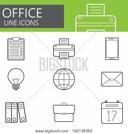 Office line icons set, outline vector symbol collection, linear pictogram pack isolated on white, logo illustration