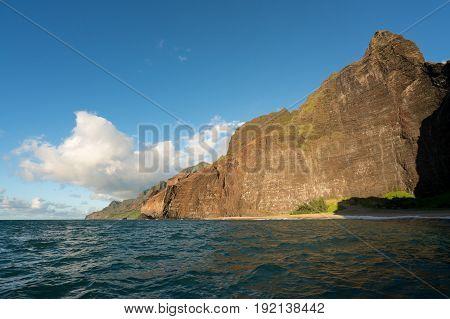 Rocky coastline at Honopu beach on Na Pali coast of Hawaiian island of Kauai