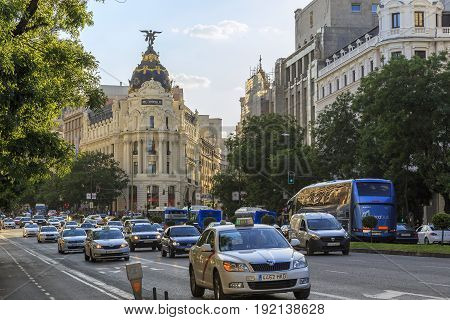 MADRID, SPAIN - MAY 24, 2017: Street Alcala is one of the main transport arteries of the city and a place of great business activity.