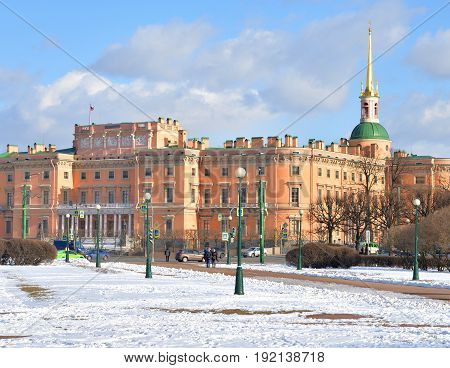 The Mikhailovsky Castle in St.Petersburg at sunny day Russia.
