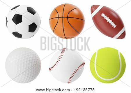 Sports balls 3d illustration set. Basketball, soccer, tennis, football baseball golf