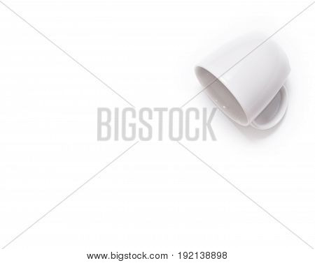 The White Coffee cup on white background