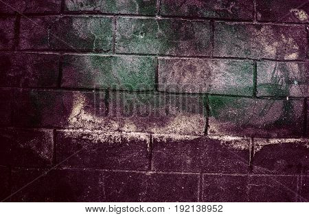 Fragment Of Old Dirty Brick Wall With Peeling Plaster Texture White Grey Brown Black Green Blue Lime