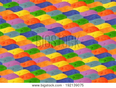 Parquet from wooden multicolored figured wavy boards. Multicolored wooden parquet on the floor. Fragment of parquet floor