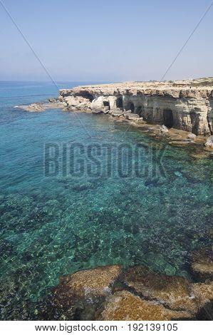 Sea Caves Of Cavo Greco Cape. Cyprus. Mediterranean Sea
