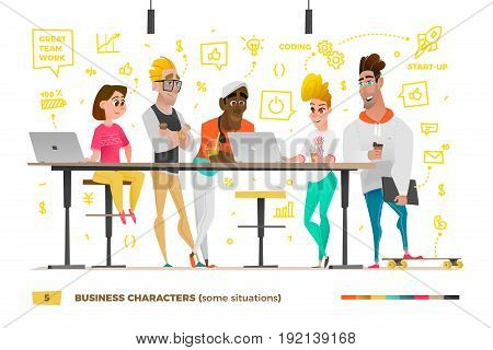 Business characters in the working environment. Discussion of business processes