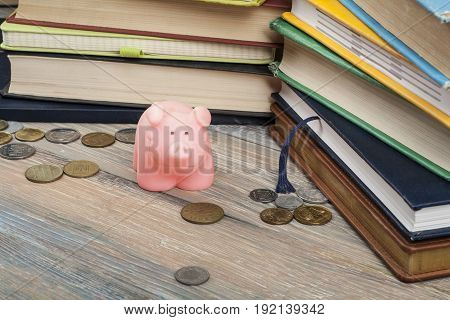 Piggy bank with colorful books on wooden table. Concept of funding education.