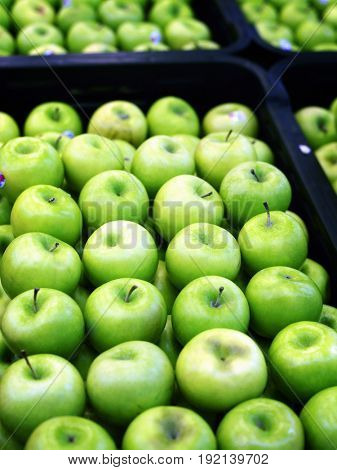 green apples in market place