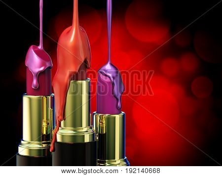 Red lipstick and multi-colored droplet nail polish on red bokeh background. 3d rendering