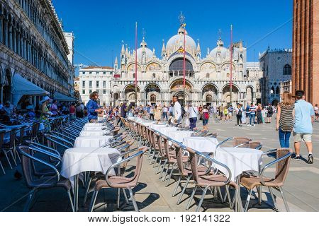 Venice, Italy, May, 31, 2017: square infront of Basilica di San Marco in Venice, Italy
